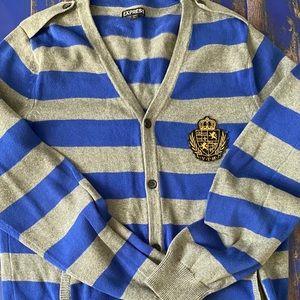 Express Mens Gray/Blue Cardigan Sweater Jacket Med